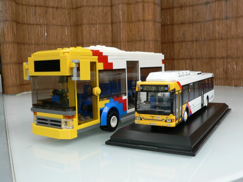 LEGO Adelaide Metro bus next to scale model